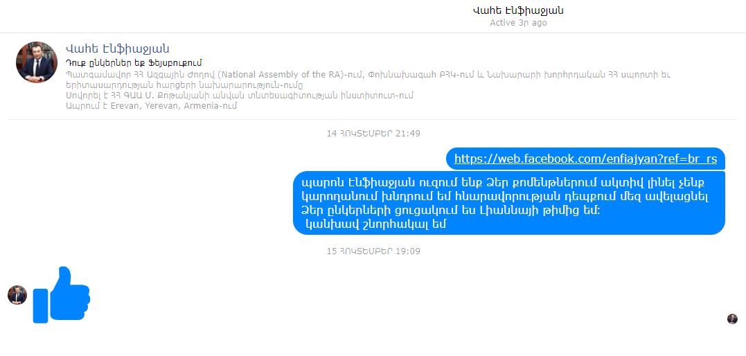 Vahe Enfiajyan and the army of fake Facebook users from the